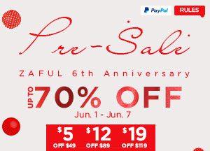 Zaful 6th Anniversary Sale