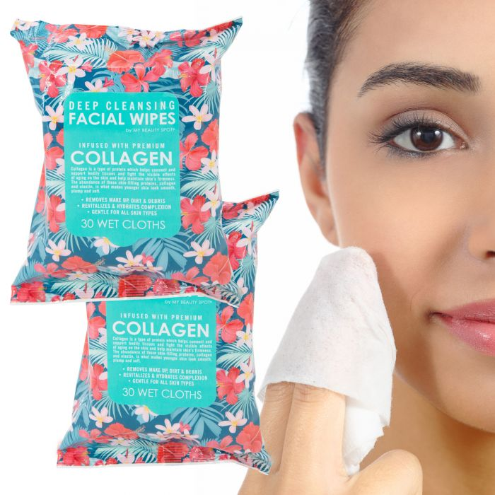 2pk Deep Cleansing Facial Wipes – 60 Cloths, Infused w/ Collagen