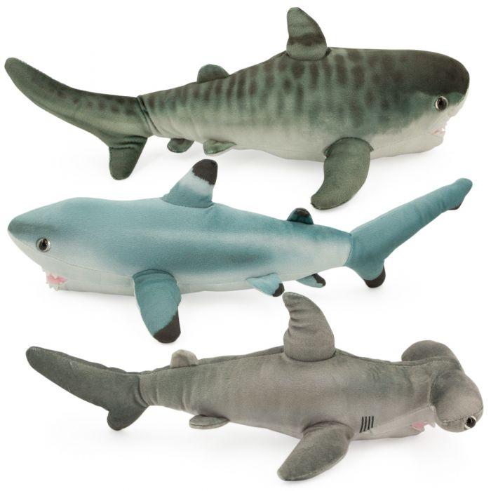 3pk Wild Republic Sharks 15 Plush  Tiger, Blacktip, Hammerhead