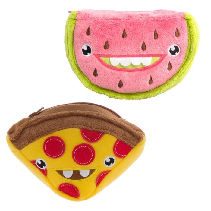 2pk Hallmark 7? Plush Zip Carrying Cases ? Play With Your Food