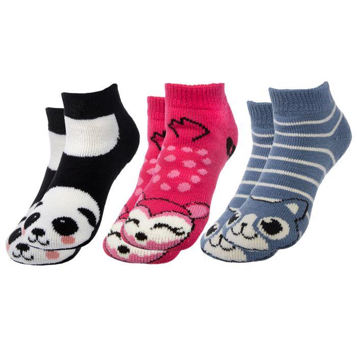 3 Pair Polar Extreme Thermal No Show Animal Slipper Grip Socks