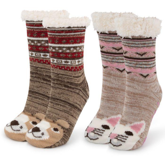 2 Pairs Muk Luks Critter Cabin Sherpa Lined Slipper Socks ? Nonslip