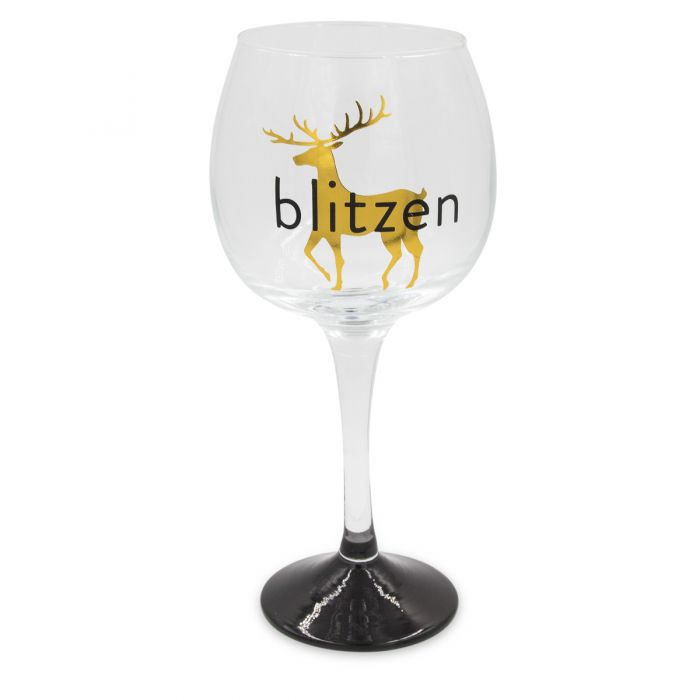 C.R. Gibson 16oz Blitzen Reindeer Wine Glass ? For Holiday Cheer